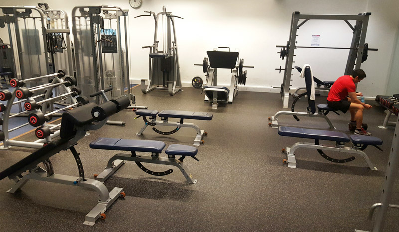 Rubber sports flooring for free weights